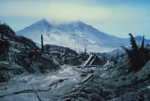 View of Mt. St. Helens from Mt. Margaret, July 27 1980 Devastation