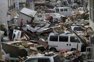 Debris is strewn over an area affected by an earthquake and tsunami in Miyako, Iwate Prefecture, March 14, 2011. REUTERS/Aly Song (JAPAN - Tags: DISASTER ENVIRONMENT)
