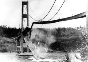Tacoma Narrows Bridge Collapse, 1940. The engineer commited suicide.